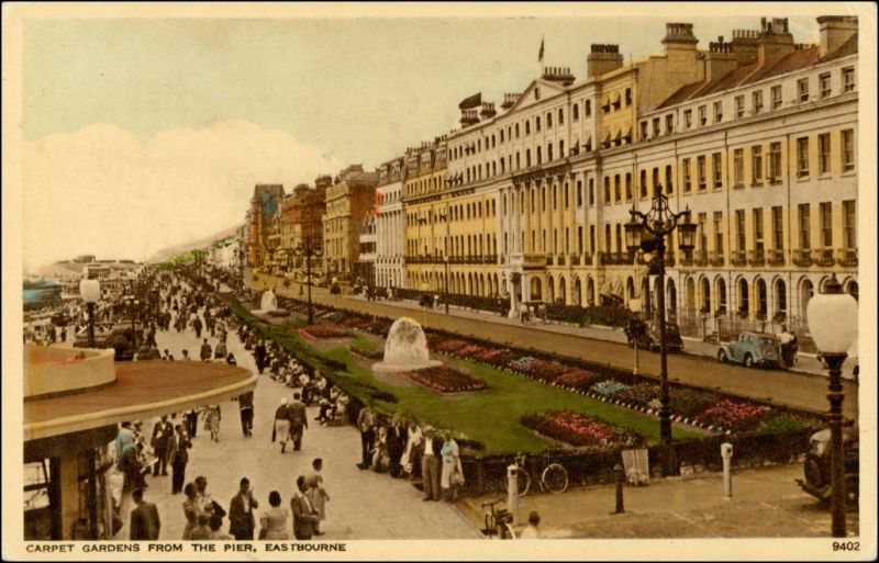 Postcard Eastbourne Carpet Gardens from the Pier 1926