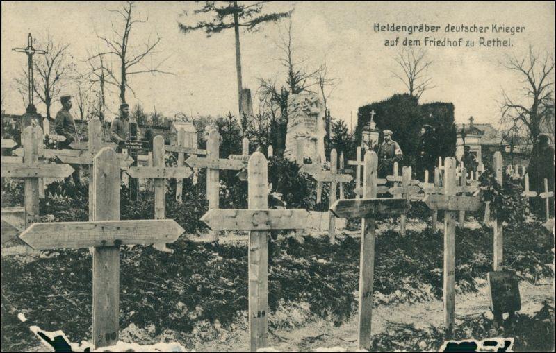 Ansichtskarte  Heldengräber, dt. Krieger Friedhof Rethel 1915