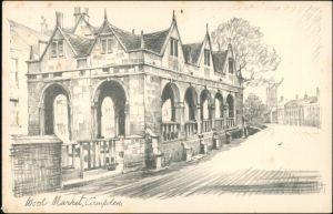 Postcard Campden Wool Market Campden 1940