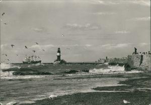 Warnemünde-Rostock Rostock (Warnemünde), Ostsee mit Mole und Leuchtturm 1985