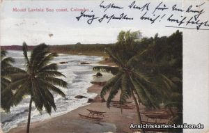 Colombo Mount Lavina Sea coast (Strand mit Palmen und Booten) 1926