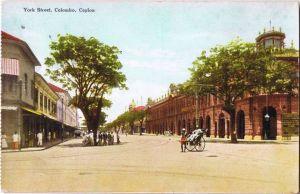 Postcard Colombo York Street (Ceylon) 1918