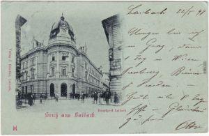 Laibach Ljubljana Lubiana Straßenpartie  an der Hauptpost Vintage Postcard 1898