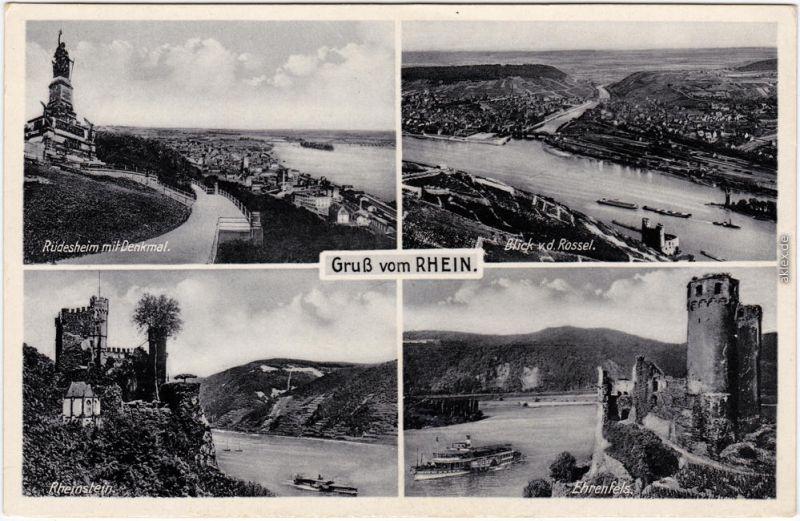 Rüdesheim  Rhein:Rüdesheim, Blick vom Rossel, Rheinstein, Ehrenfels 1955