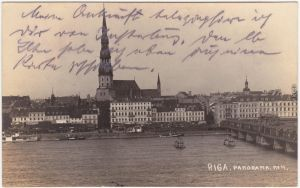 Riga Rīga  Ри́га Blick auf die Stadt  Brücke Privat Fotokarte  1926