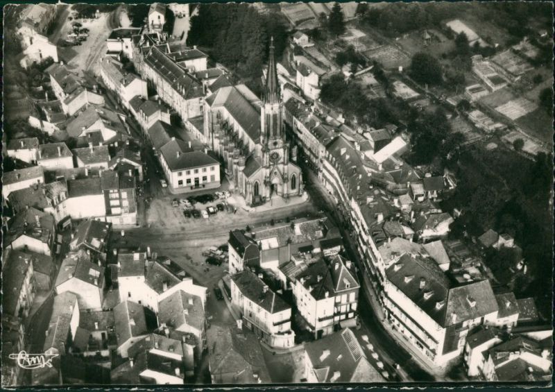 Plombières-les-Bains Vue panoramique aérienne/Luftaufnahme Stadtteilansicht 1957 0