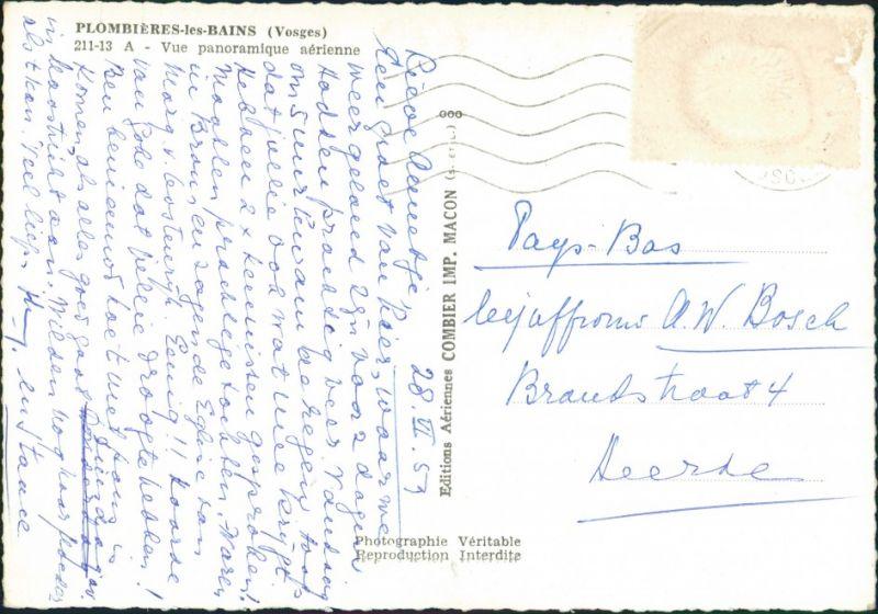 Plombières-les-Bains Vue panoramique aérienne/Luftaufnahme Stadtteilansicht 1957 1