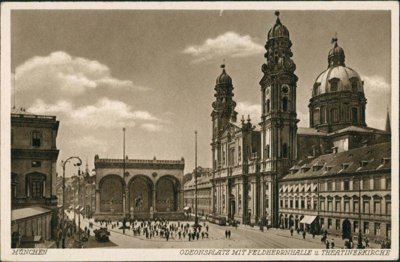 Ansichtskarte München Odeonsplatz, Feldherrnhalle und Theatinerkirche 1920