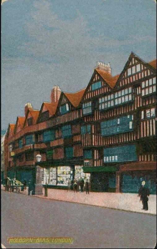 Postcard London Holborn Bars 1955 Silber-Effekt