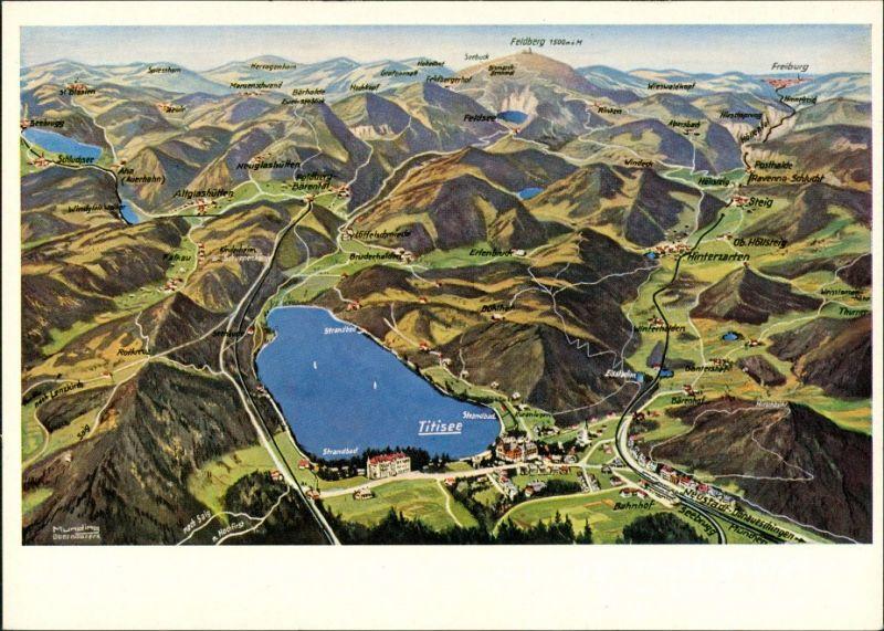 Ansichtskarte Titisee Panorama-Ansicht, Reliefkarte rd. um Titisee 1955