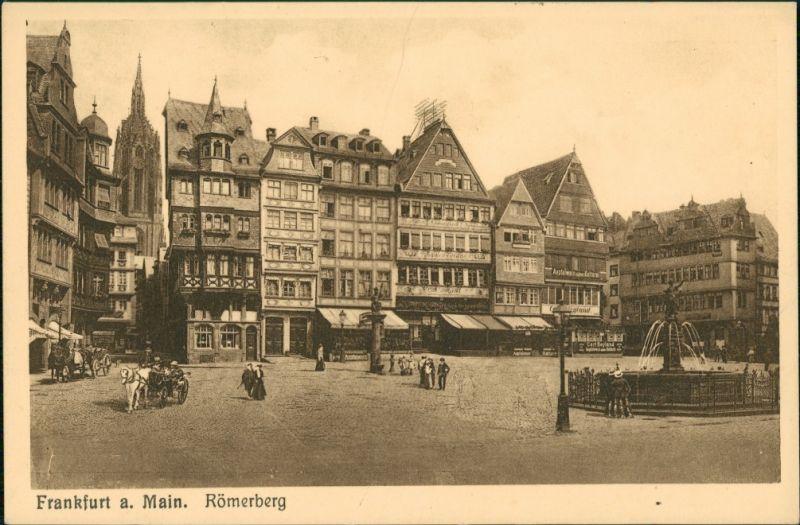 Frankfurt am Main Römerberg Partie, Geschäfte, Lokale, Pferde-Fuhrwerk 1910
