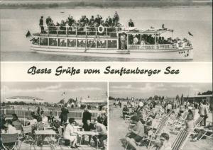 Großkoschen-Senftenberg (Niederlausitz) 3 Bild: Schiff, Strand, Restaurant 1974