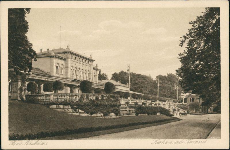 Ansichtskarte Bad Nauheim Kurhaus und Terrasse, Blick vom Park aus 1920