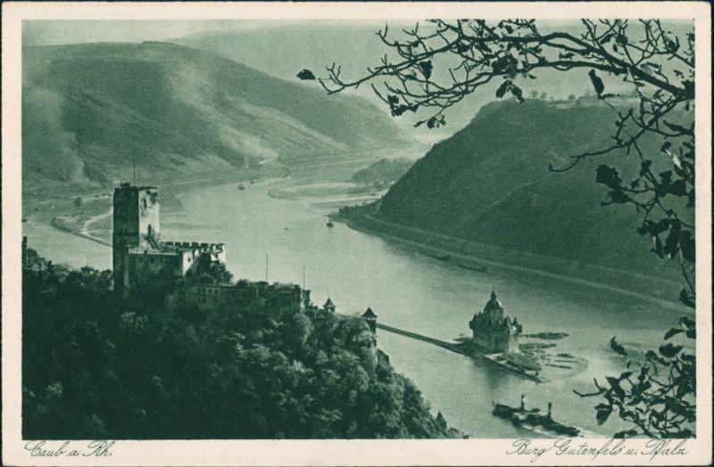 Kaub Panorama-Ansicht, Rhein Schiff passiert Burg und Pfalz 1910