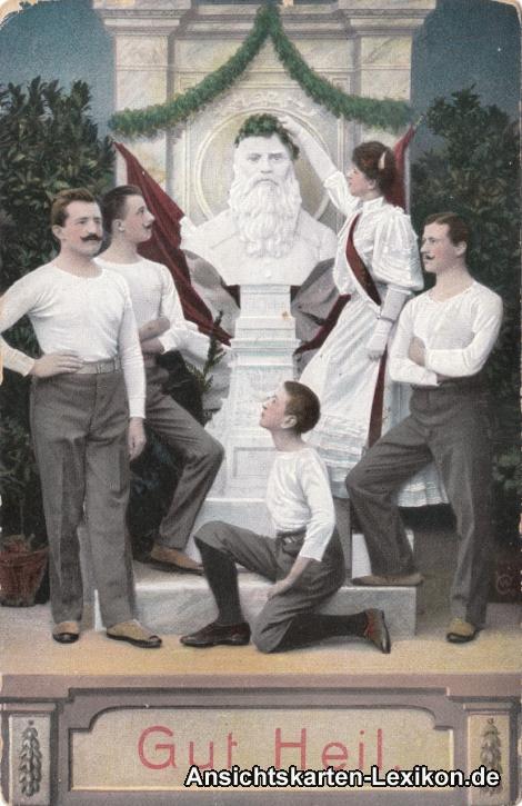 Ansichtskarte Gut Heil, Büste Friedrich-Ludwig Jahns mit Turngruppe Sport 1909