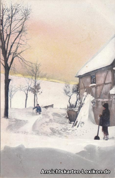 Künstler Ansichtskarte  Verschneites Haus Schneeschaufeln, Opa mit Stock 1918