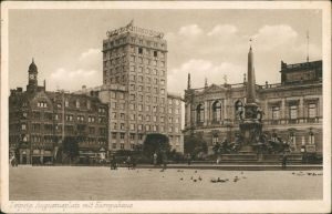 Ansichtskarte Leipzig Augustusplatz mit Europahaus, Denkmal 1930