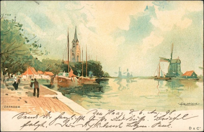 Postkaart Zaanstad Zaandam - Windmühle Künstlerkarte 1899
