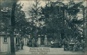 Ansichtskarte Schönfeld - Weißig-Dresden Gasthaus Borsberg - belebt 1924