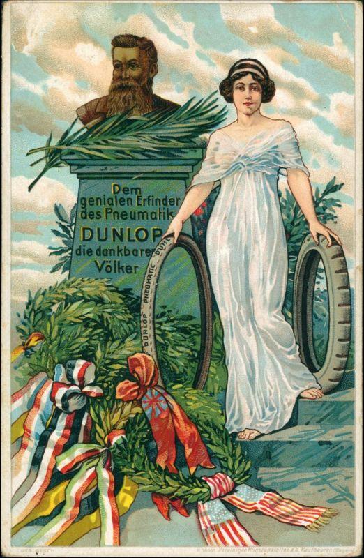 Ansichtskarte  Dunlop Reifen - Litho Werbung Patriotika 1916