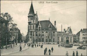 Postkaart Lüttich Luik Lîdje Straße am Postamt 1918