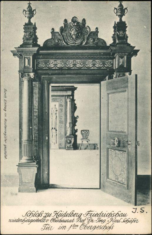 Ansichtskarte Heidelberg Schloß Friedrichsbau - 1. OG Zimmer 1908