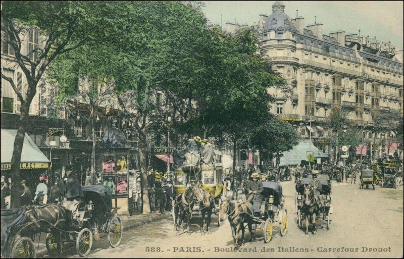 CPA Paris Boulevard de Italiens, Kutschen 1907