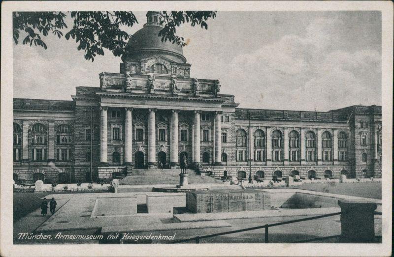Ansichtskarte München Armeemuseum mit Kriegerdenkmal, Denkmal 1920