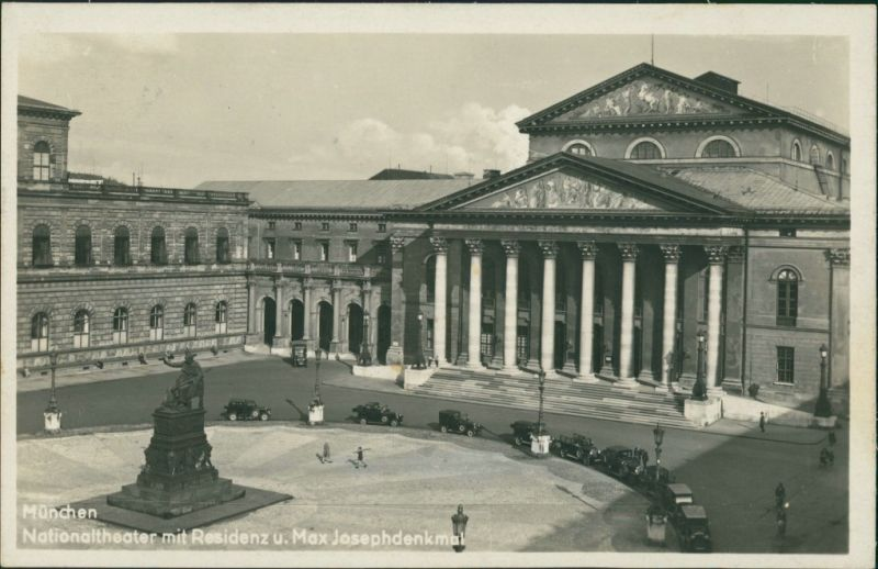 München Nationaltheater mit Residenz, Max-Joseph-Denkmal, Autos 1930