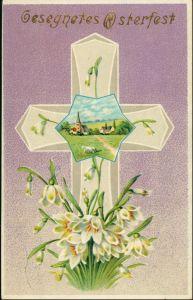 Glückwunsch Ostern / Oster-Karten Prägekarte Kreuz Lamm Kirche 1909 Goldrand