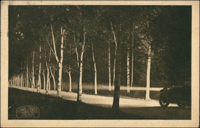 Ansichtskarte  Werbung Carl Zeiss Jena Auto Birkenallee bei Nacht 1927