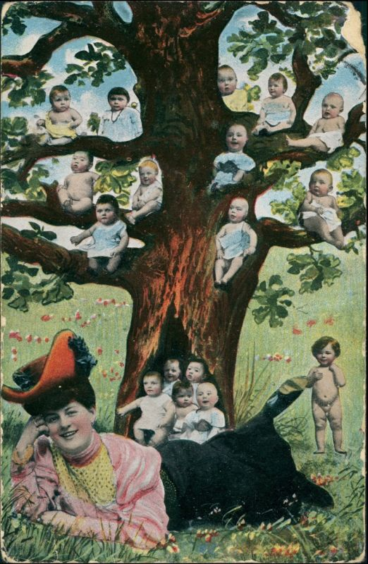 Ansichtskarte  Baum voller Babys - liegende Frau 1912