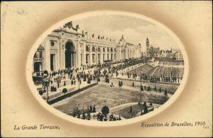 Postkaart Brüssel Bruxelles Exposition de Bruxelles Terrasse 1910