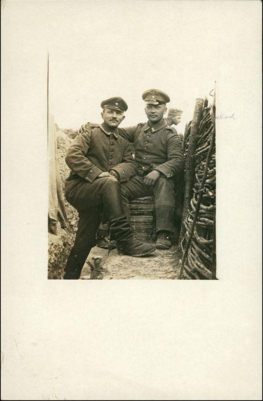 Ansichtskarte  Soldaten im Schützengraben - WK1 Militär 1916