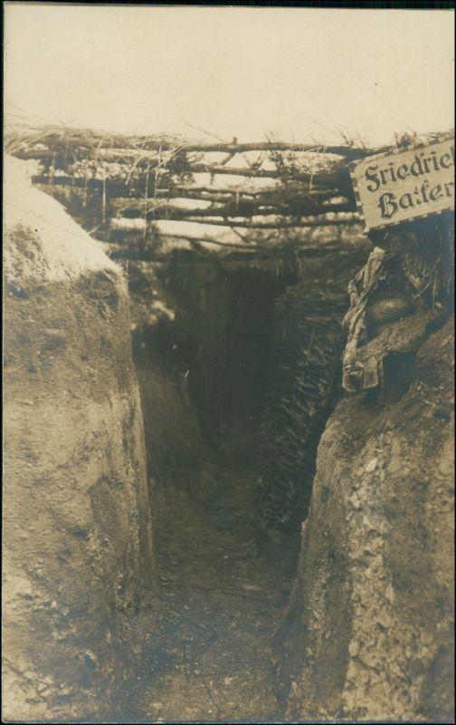 Ansichtskarte  Schild, Blick in den Schützengraben 1. WK Militaria 1916