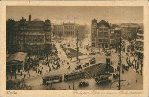 Tiergarten-Berlin Potsdamer Platz mit viel Verkehr Straßenbahn Bus Autos 1920