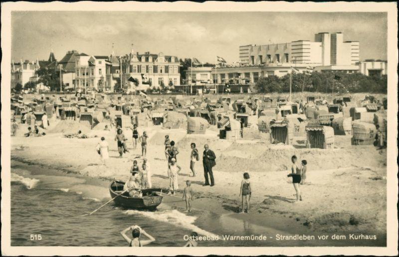 Warnemünde-Rostock Strand Strandleben vor Kurhaus, viele Badegäste 1930
