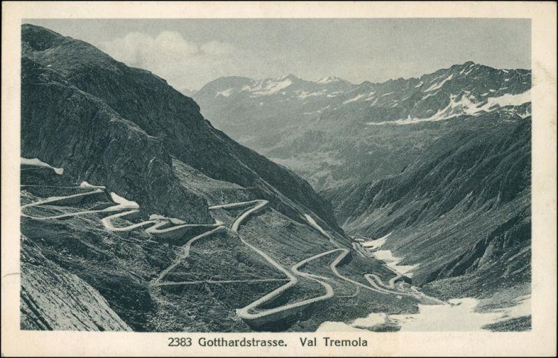 Ansichtskarte Airolo Tremolastrasse (Val Tremola) 1914