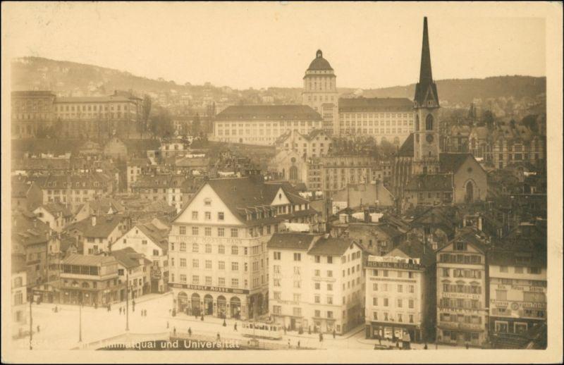 Ansichtskarte Zürich Straße, Straßenbahn Geschäft R. Mosse 1916