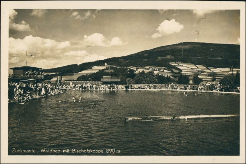 Postcard Zuckmantel Zlaté Hory Partie am Schwimmbad 1930