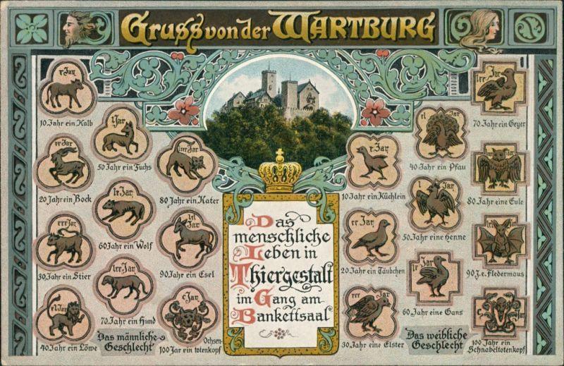 Eisenach Das menschliche Leben in Tiergestalt - Bankettsaal Wartburg 1912