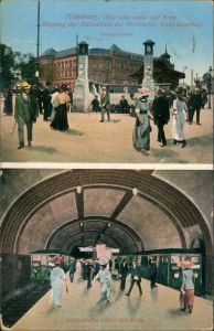 Hamburg 2 Bild Hauptbahnhof Haltestelle der Hochbahn über u unter der Erde 1912