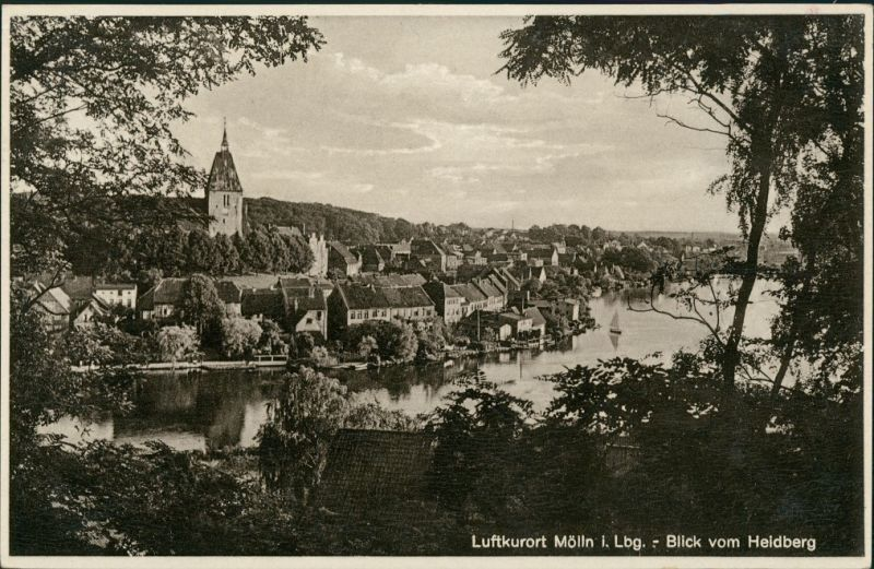 Mölln (Schleswig-Holstein) Panorama-Ansicht Blick vom Heidberg 1930