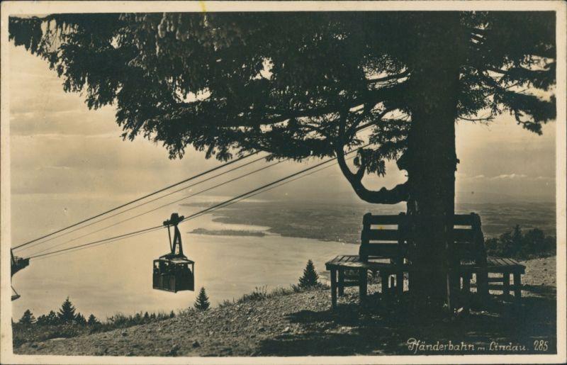 Ansichtskarte Bregenz Pfänderbahn, Bodensee Blick nach Lindau 1930