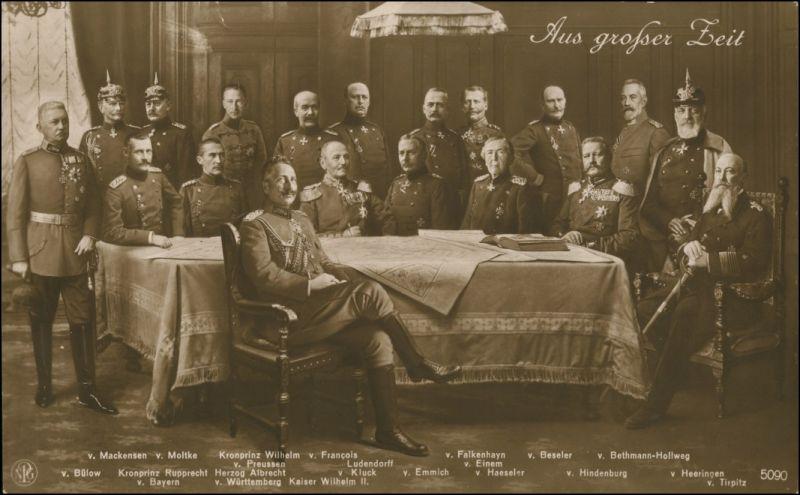 am Tisch: Kaiser Wilhelm II, Ludendorff, Bülow, Hindenburg, Tirpitz 1918