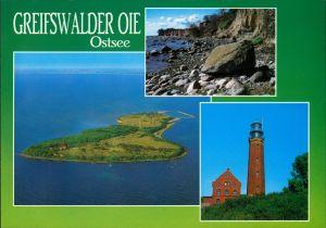 Kröslin Greifswalder Oie - Steinküste, Luftbild, Leuchtturm 2000