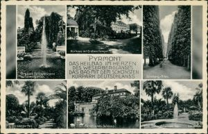 Ansichtskarte Bad Pyrmont Kurhaus, Schloss, Palmengarten, Allee 1932