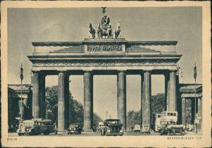 Ansichtskarte Mitte-Berlin Brandenburger Tor Bus und Auto 1941