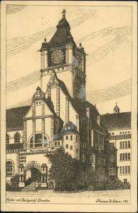 Südvorstadt-Dresden Kgl Justizgebäude Schumann-Bau TU-Dresden Künstlerkarte 1933