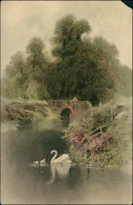 Künstlerkarte: Gemälde / Kunstwerke Schwäne auf dem Teich 1909